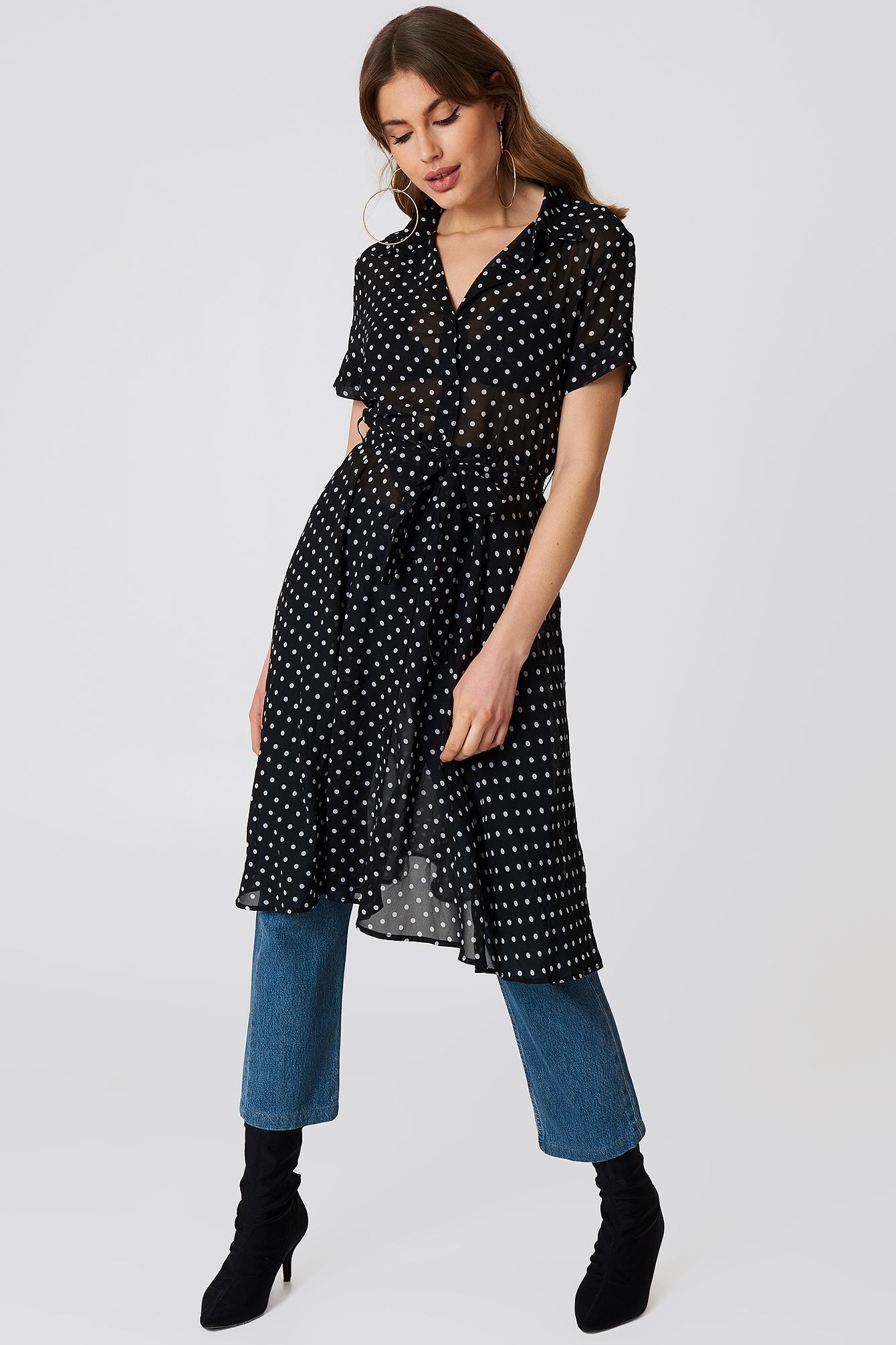 Chiffon Shirt Dress Dot Print Na Kd