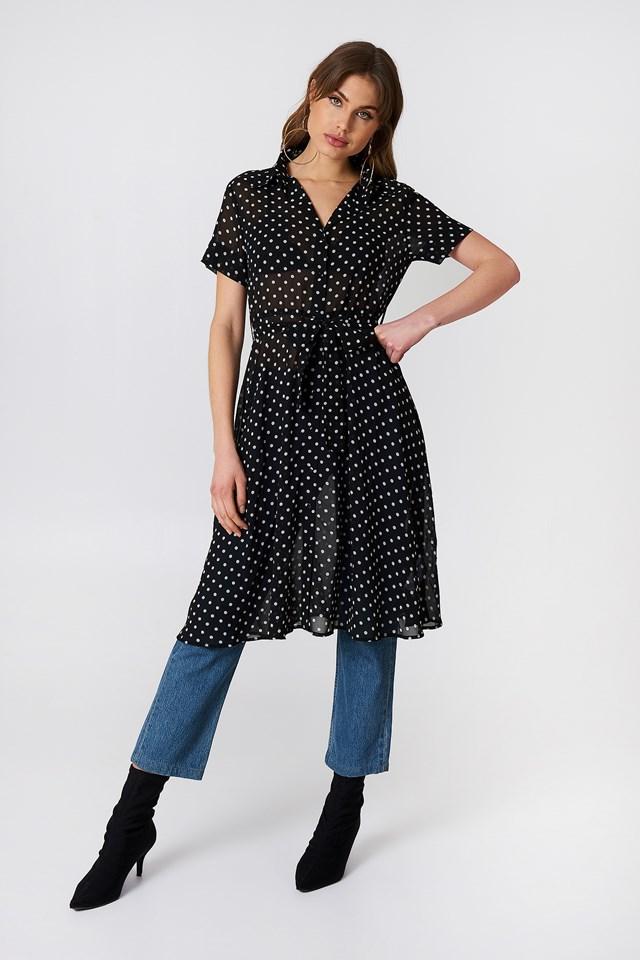 Chiffon Shirt Dress Dot Print