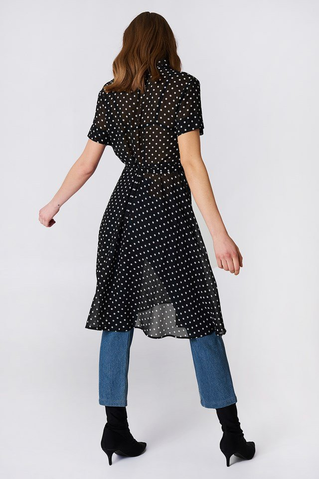 Chiffon Shirt Dress Dot Print