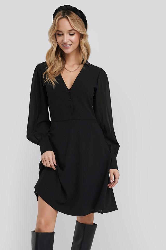Chiffon Shirt Mini Dress Black