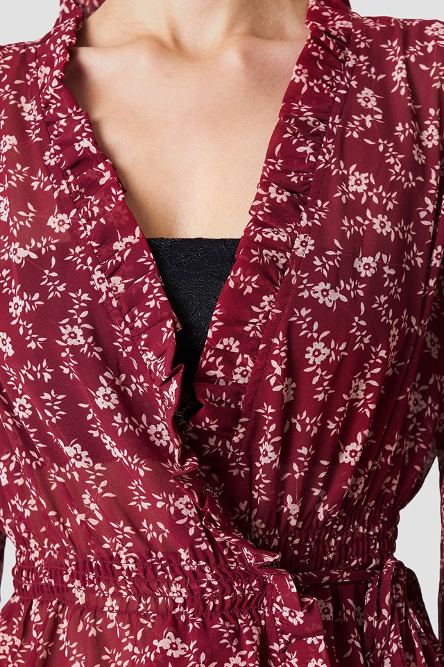 Chiffon Side Tie Blouse Burgundy Blossom Pattern