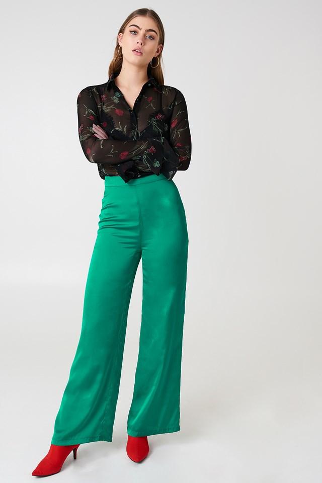 Chiffon Frill Sleeve Shirt Black/Flower Print