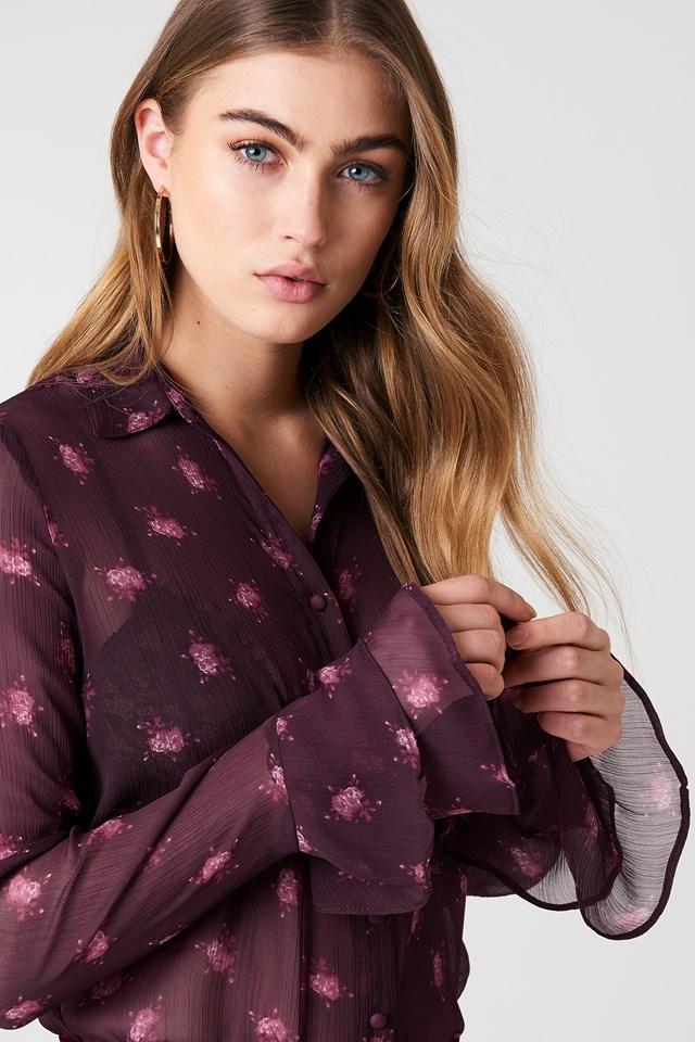 Chiffon Frill Sleeve Shirt Plum Floral