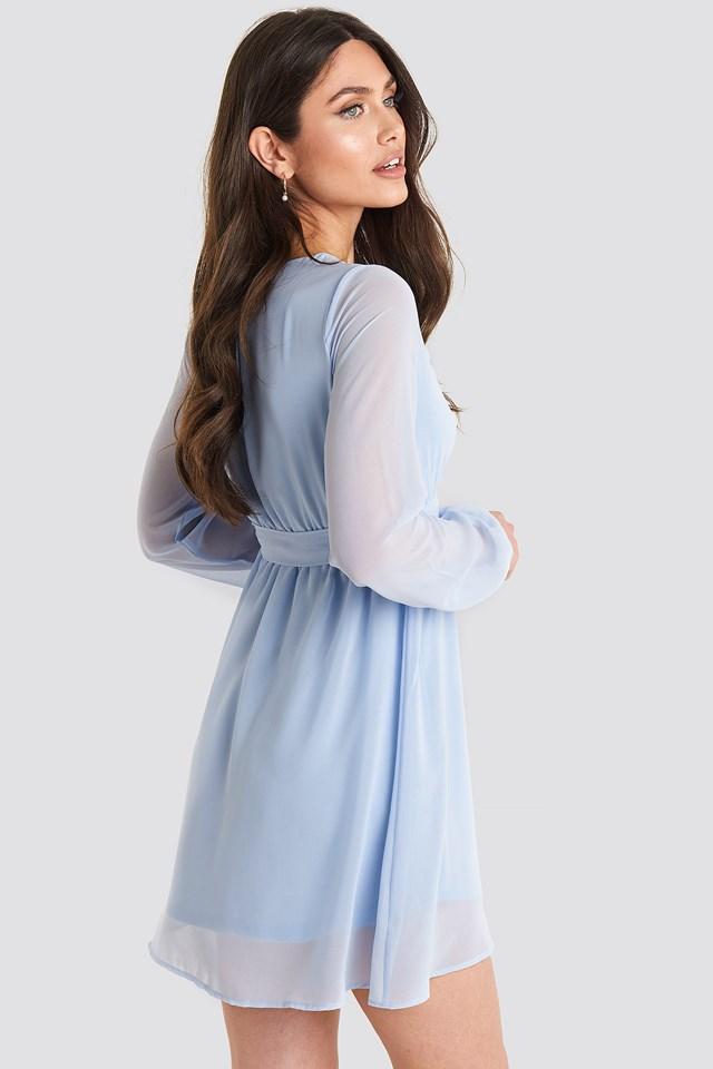 Chiffon Wrap Mini Dress Blue