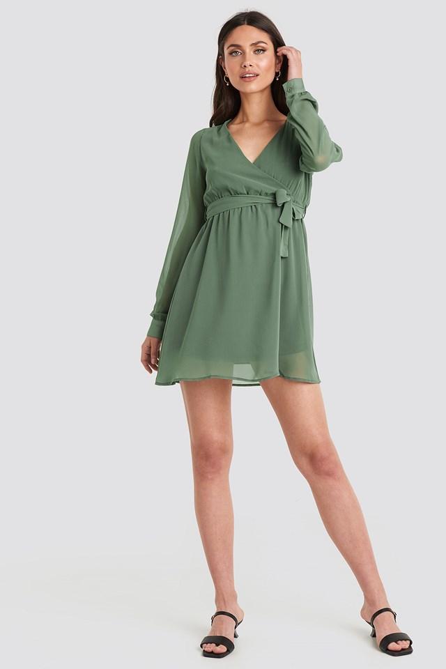 Chiffon Wrap Mini Dress Khaki