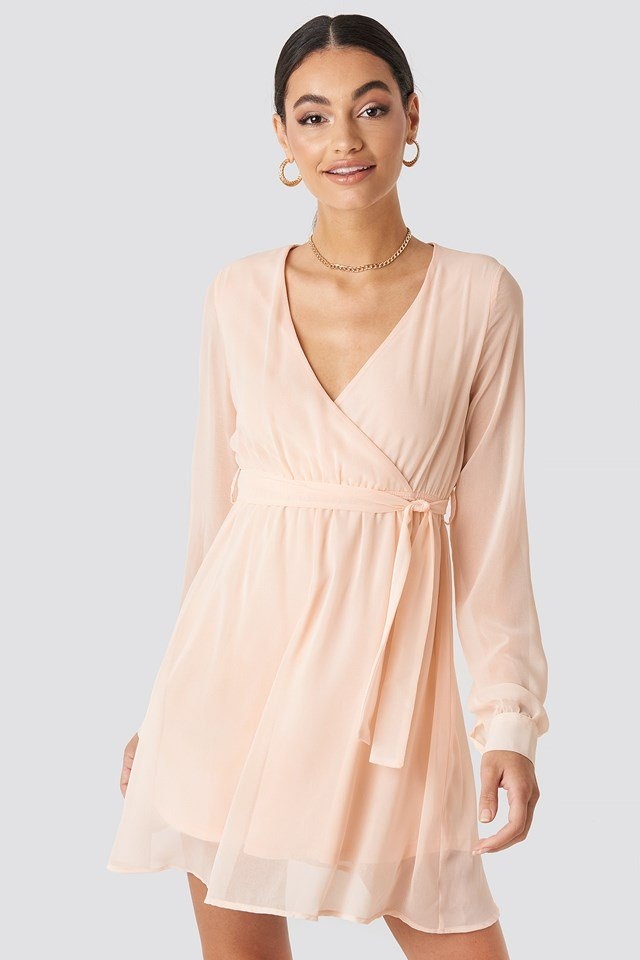 Chiffon Wrap Mini Dress Pink