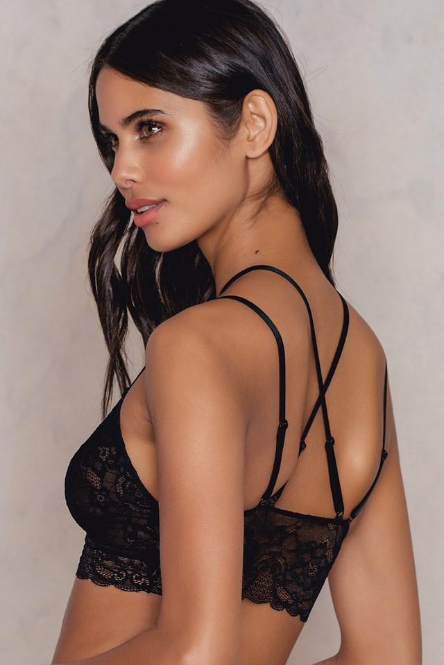 Choker Strap Lace bra Black