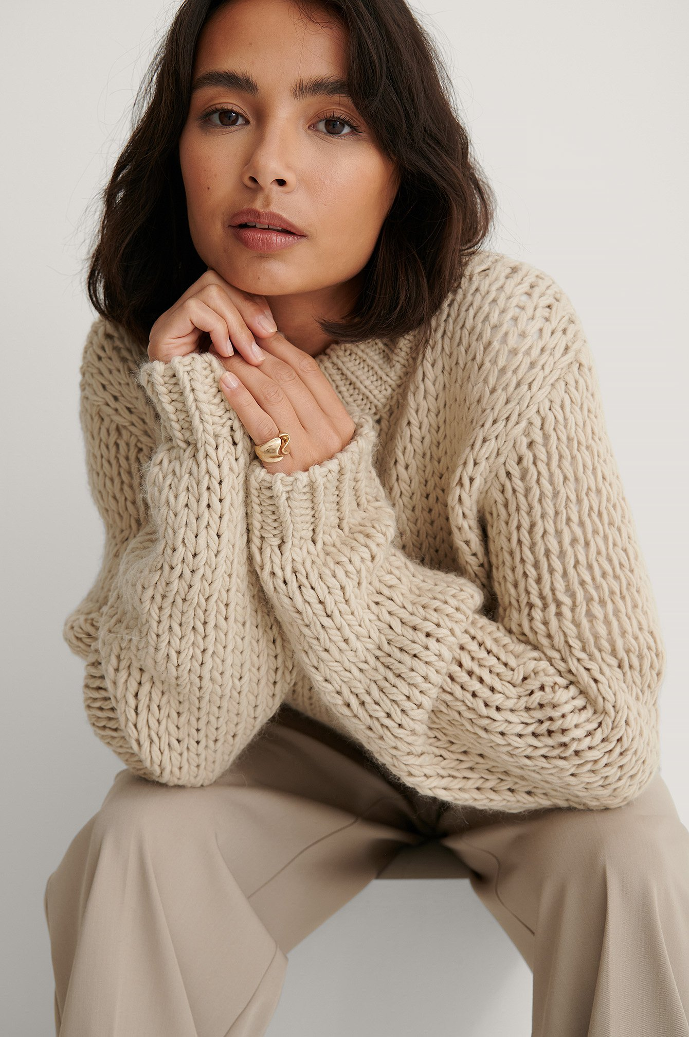 Light Beige Strickpullover