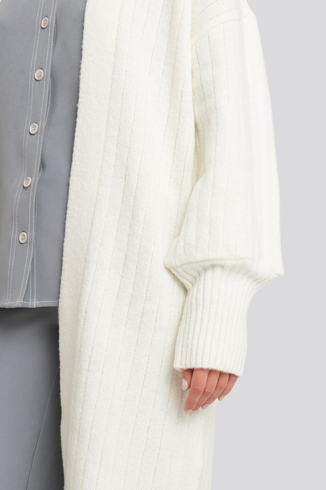 Chunky Balloon Sleeve Wool Blend Cardigan Off White