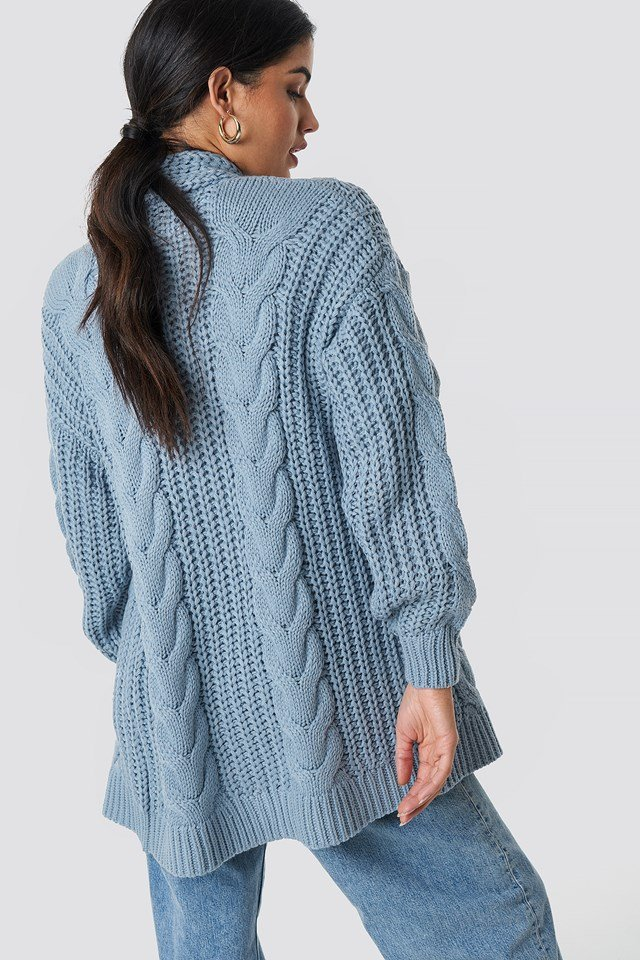Chunky Cable Knit Long Cardigan Blue