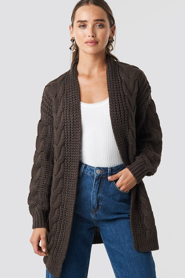 Chunky Cable Knit Long Cardigan Brown
