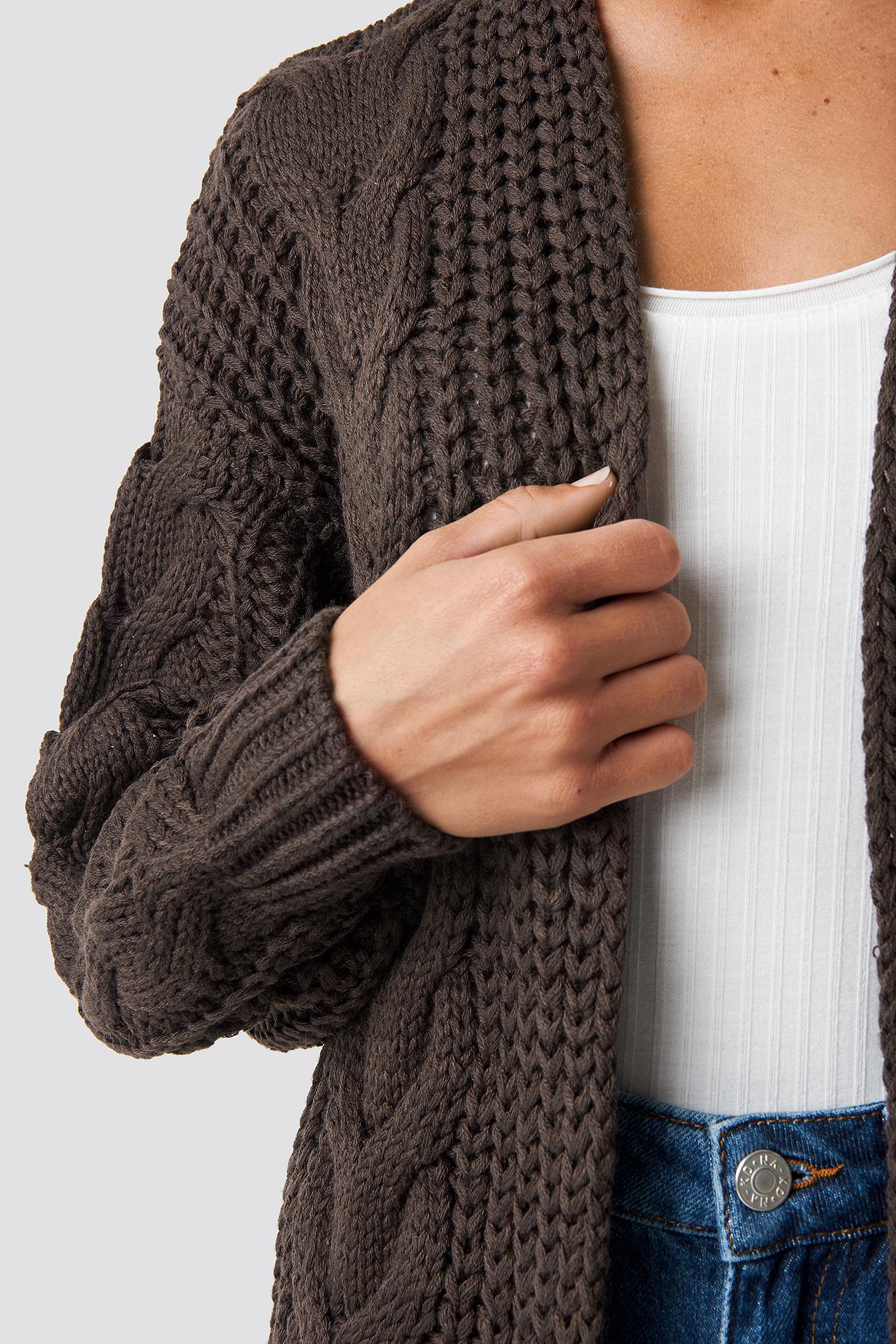 Chunky Cable Knit Long Cardigan NA-KD.COM