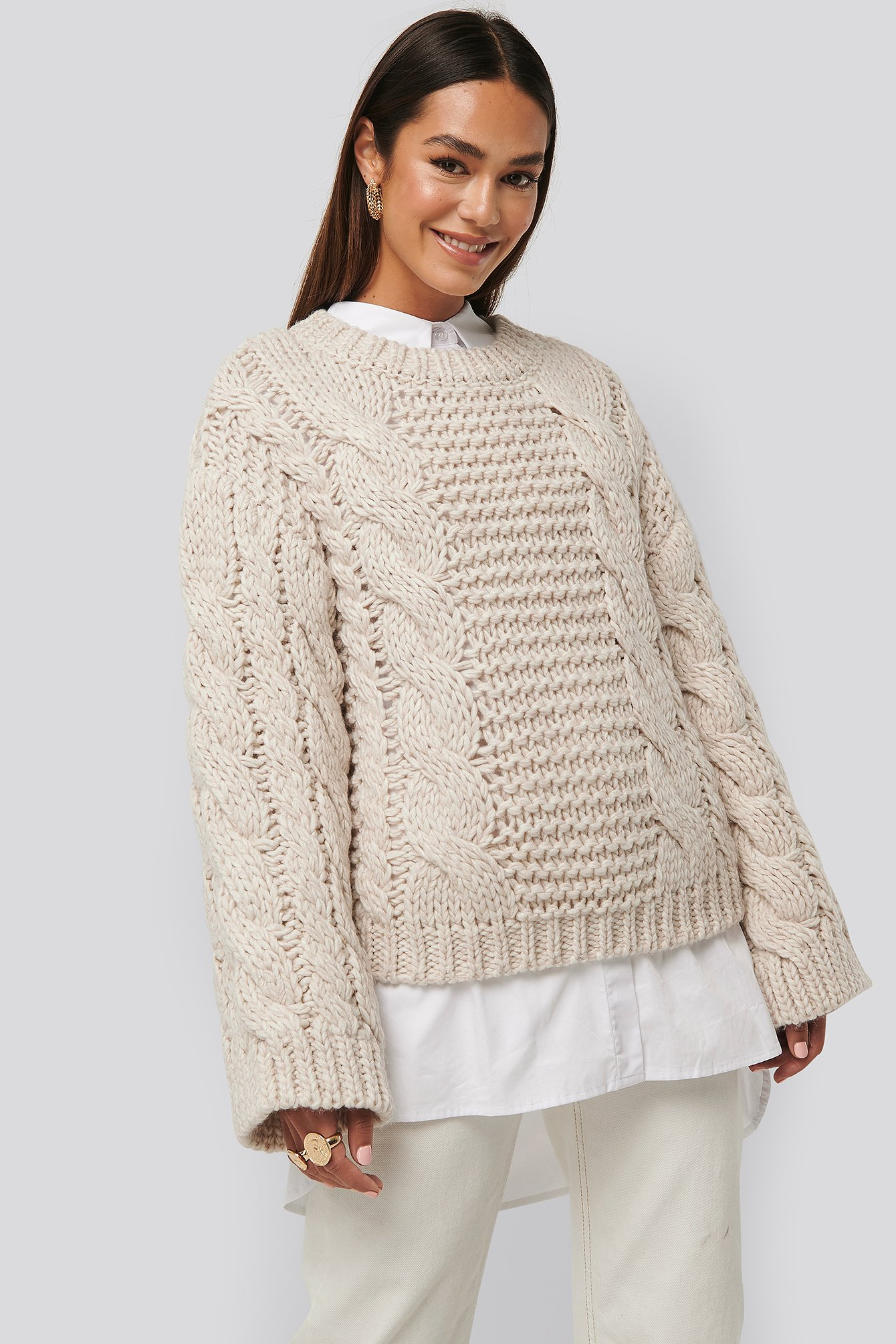 na-kd trend -  Chunky Cable Knitted Sweater - Beige