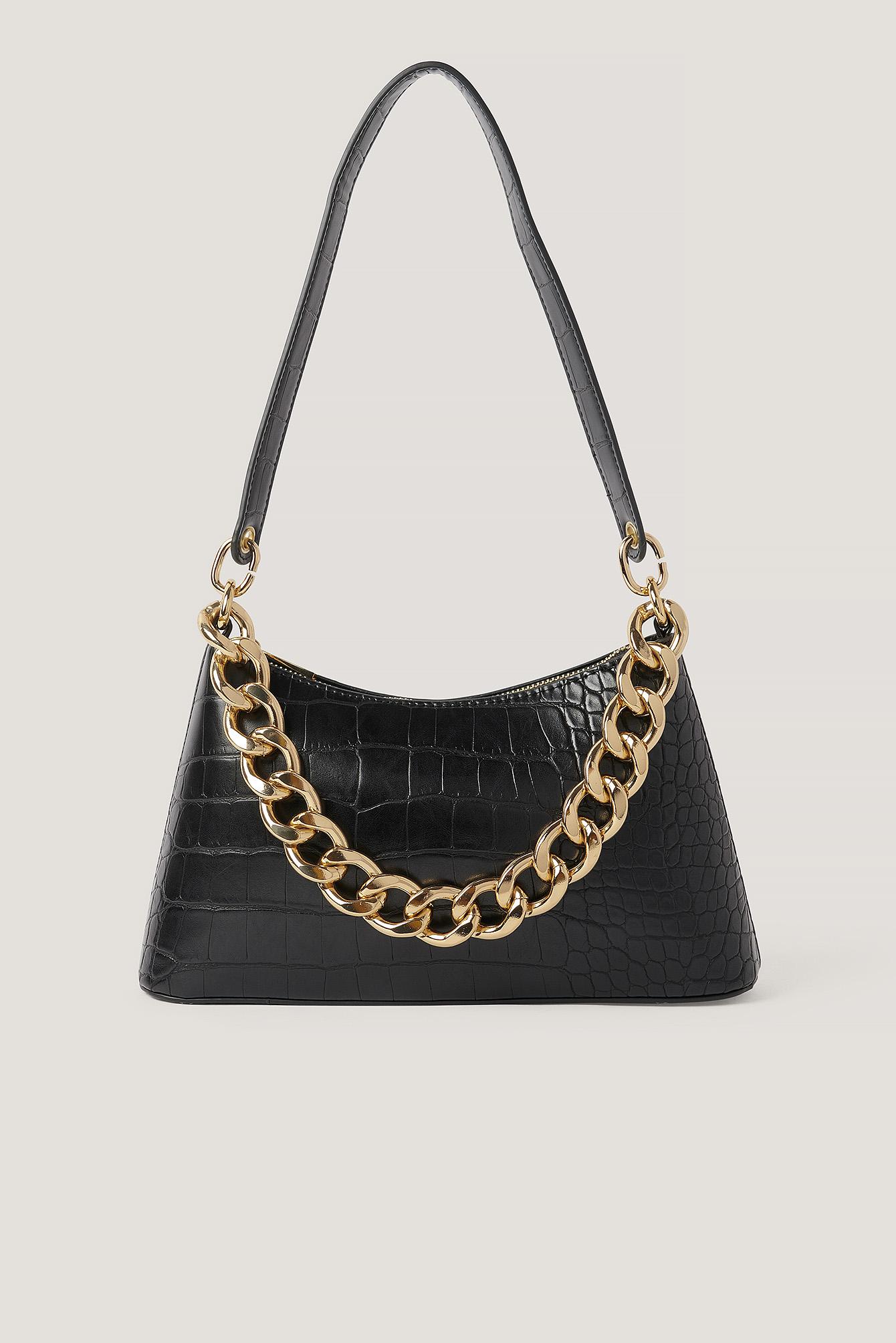 na-kd accessories -  Klobige Kette Baguette-Tasche - Black