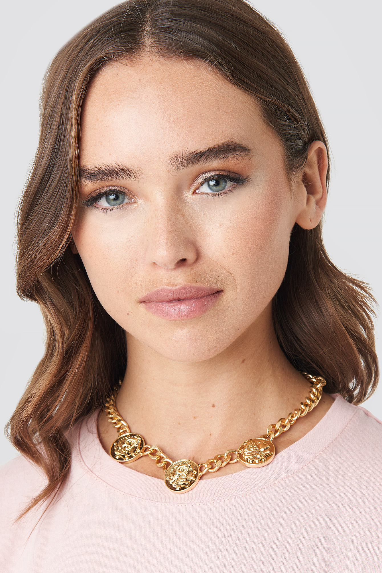 na-kd accessories -  Chunky Chain Coin Necklace - Gold
