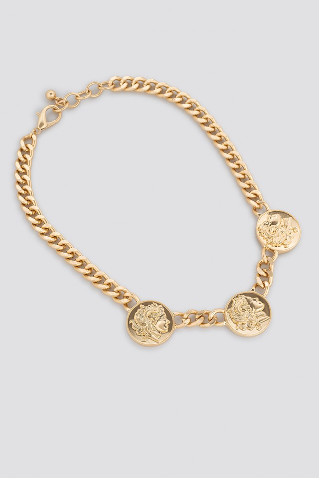 Chunky Chain Coin Necklace Gold