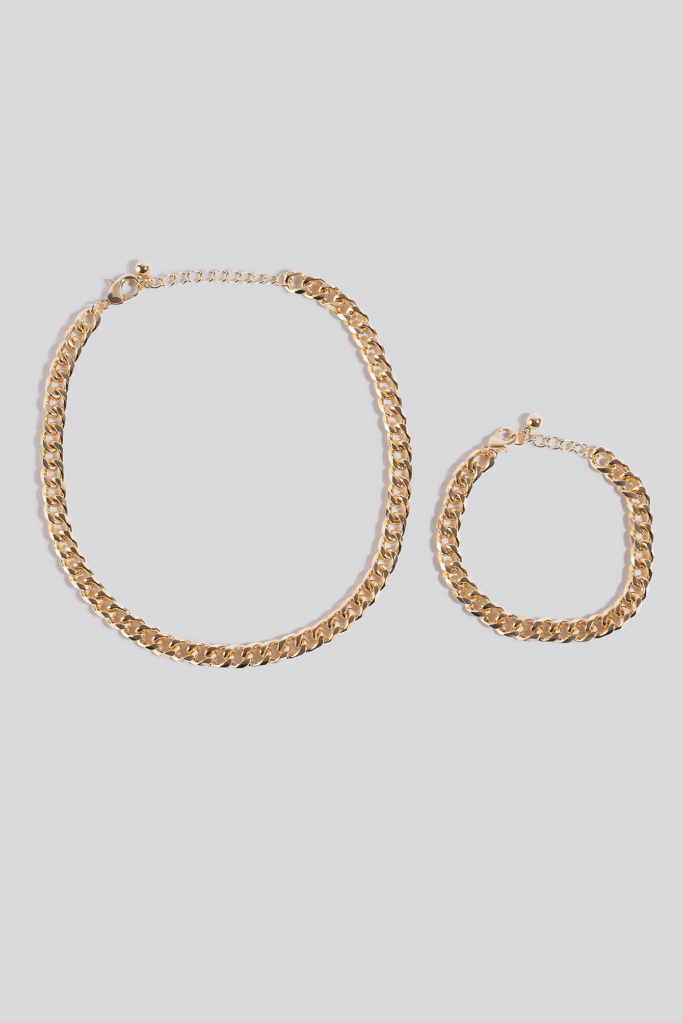 na-kd accessories -  Chunky Chain Necklace and Bracelet - Gold