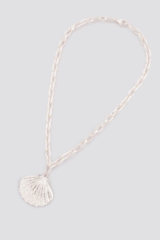 Chunky Chain Shell Necklace Silver