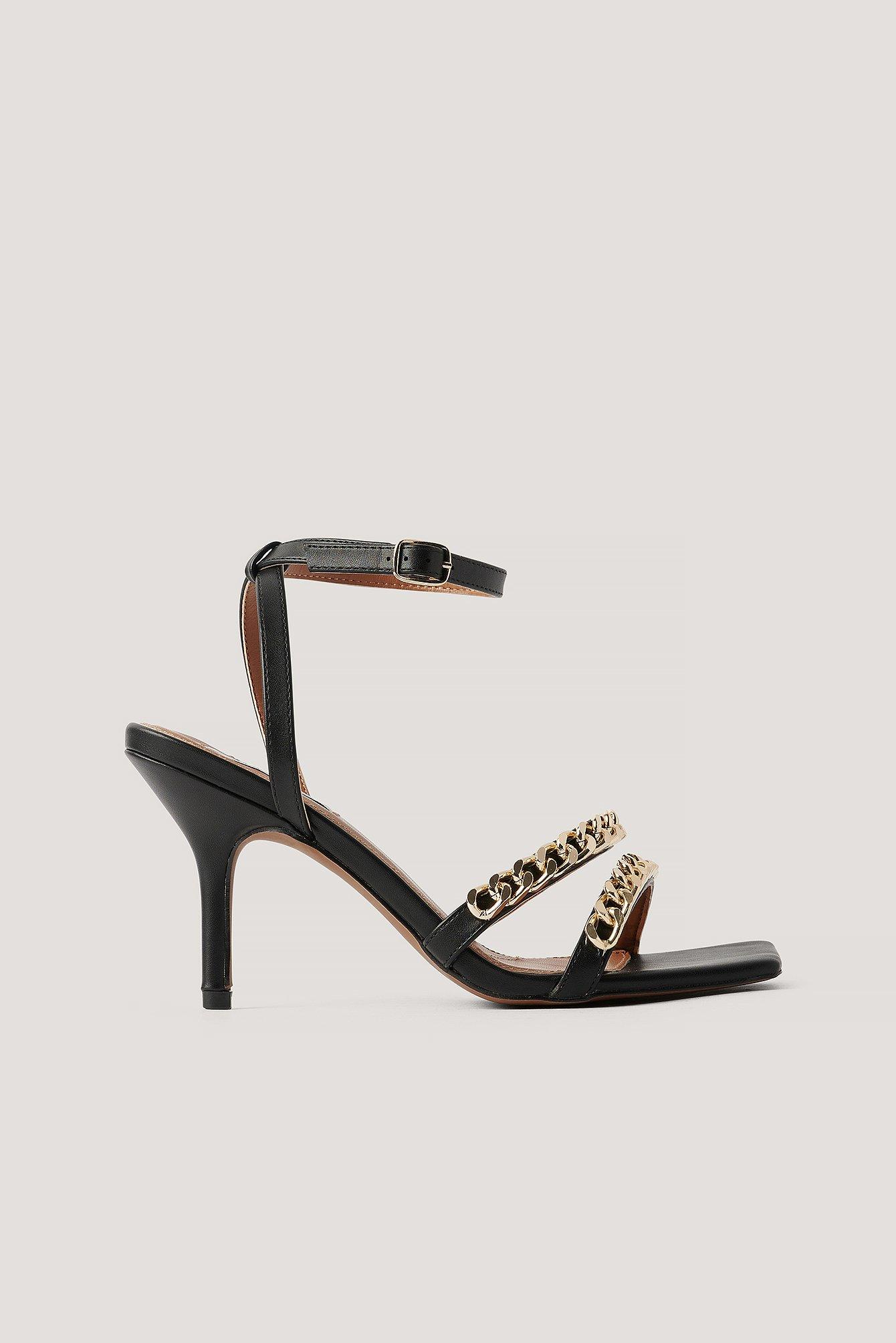 na-kd shoes -  Klobige Kettenriemen-Absätze - Black