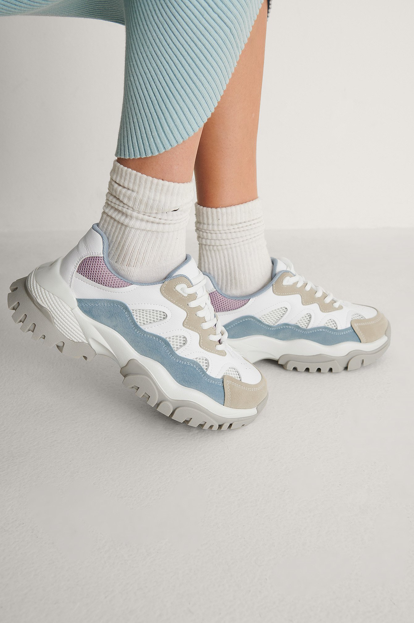 Lt blue combo Chunky Color Pop Trekking Sneakers