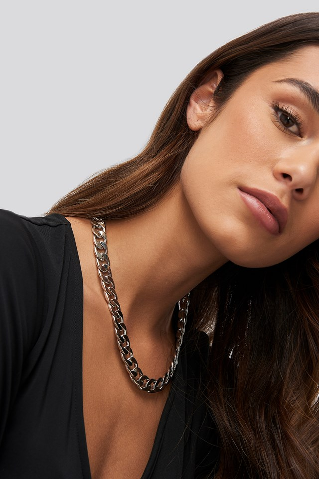 Chunky Flat Chain Necklace Silver
