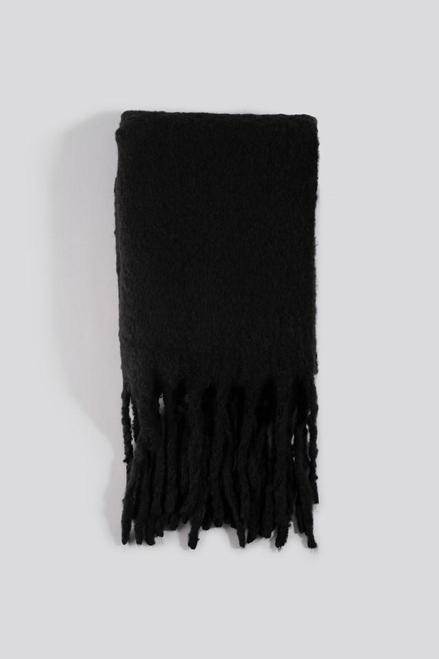 Chunky Fluffy Scarf Black