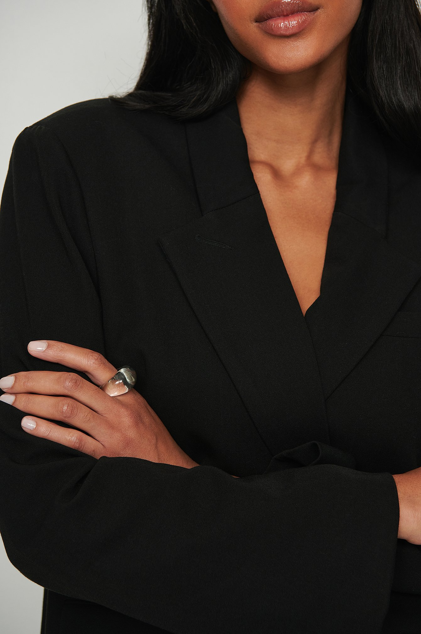 NA-KD Accessories Kraftig ring i glas - White
