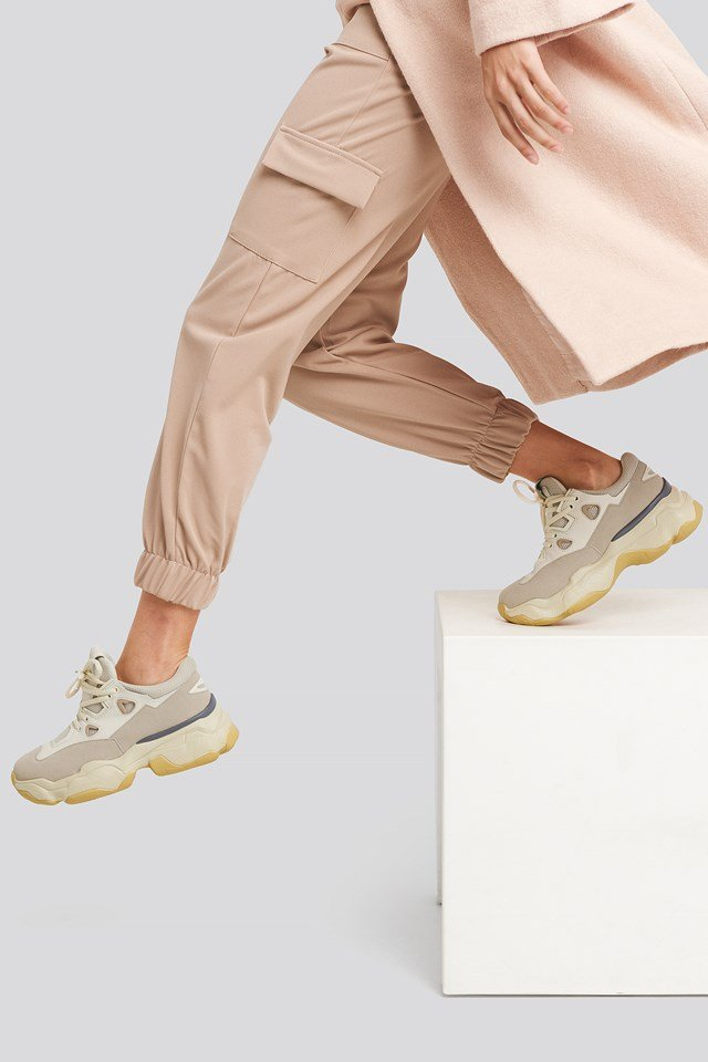Chunky Graphic Sole Trainers Nude