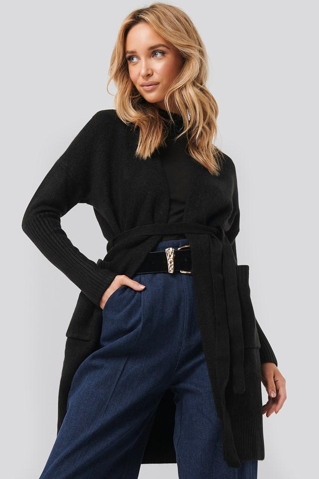 Chunky Knit Long Cardigan Black