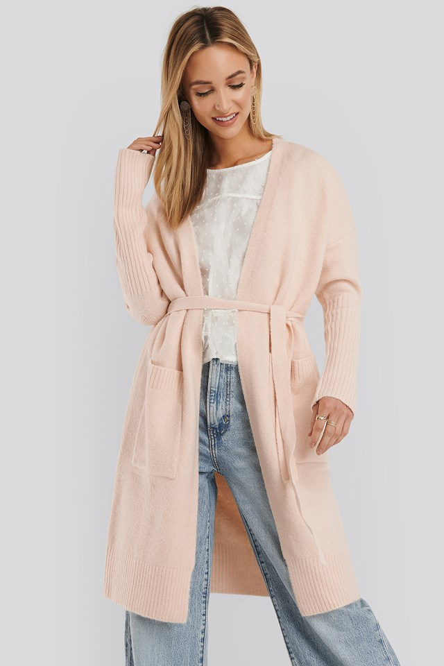 Chunky Knit Long Cardigan Toasted Almond