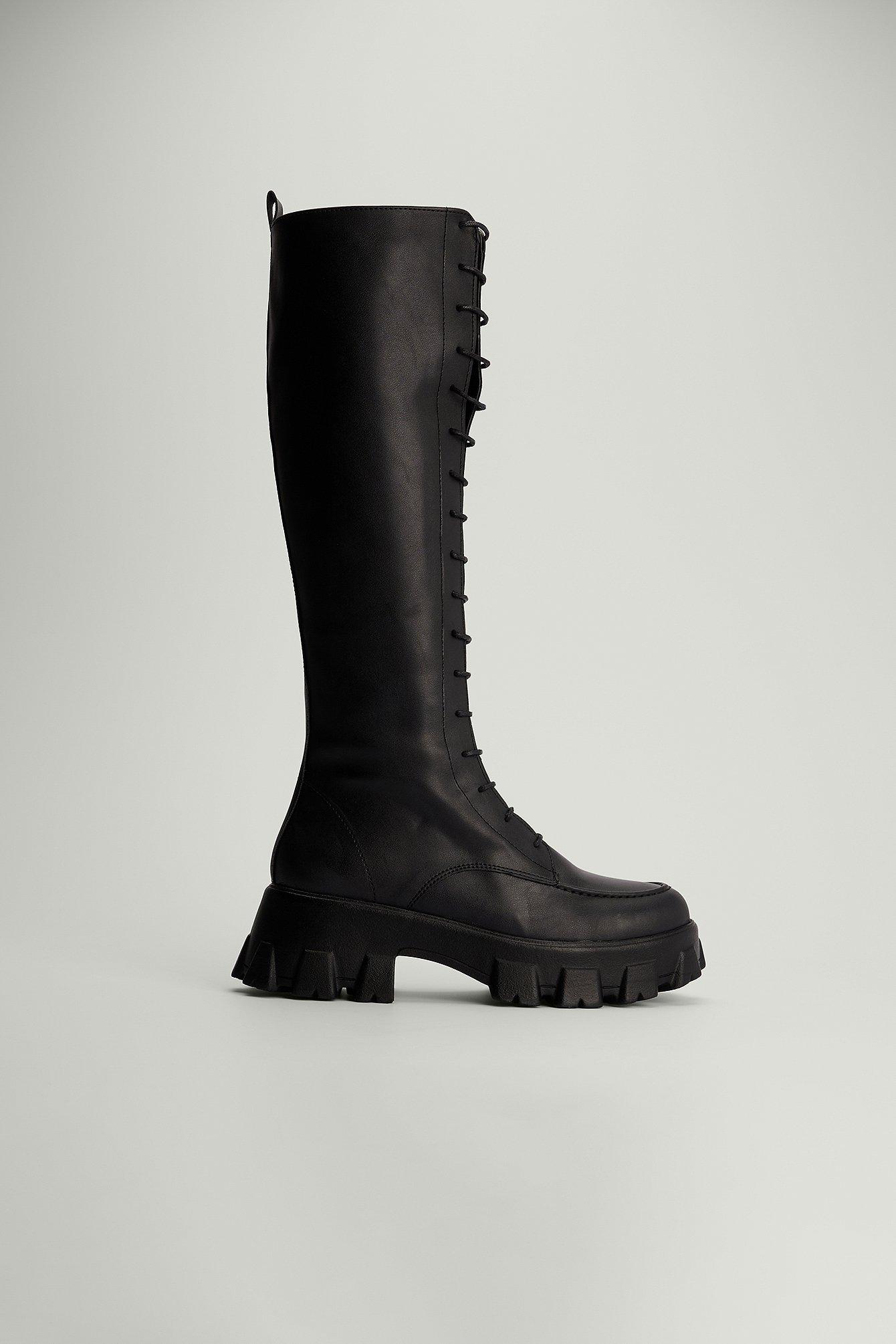 na-kd shoes -  Schnürstiefel mit Plateau-Absatz - Black
