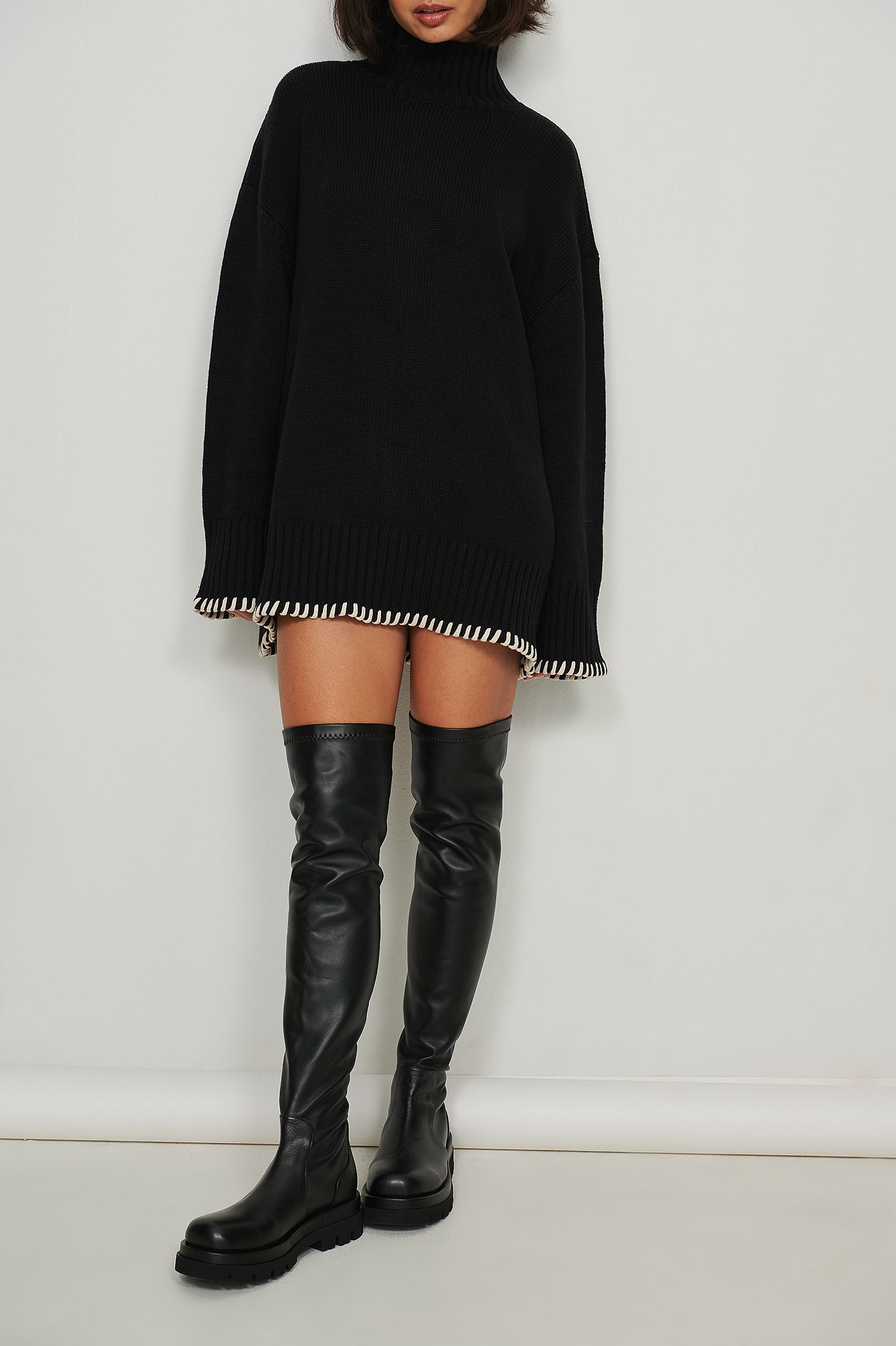NA-KD Shoes Chunky Overknee Leather Boots - Black