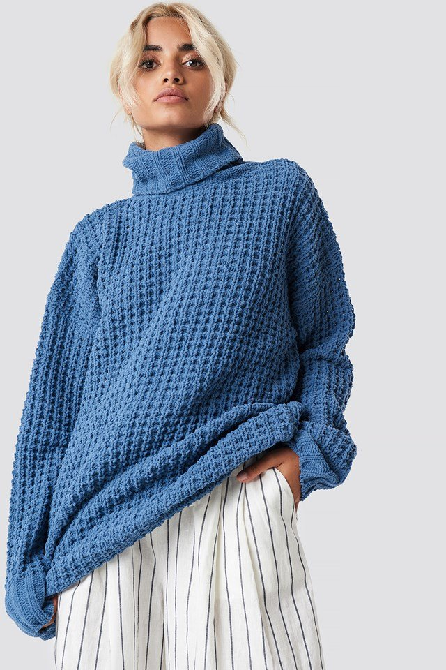 Chunky Oversized Knitted Sweater Blue