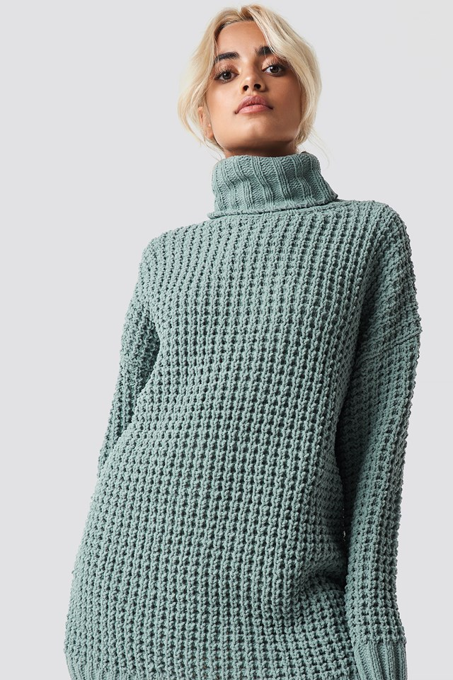 Chunky Oversized Knitted Sweater Duck Green