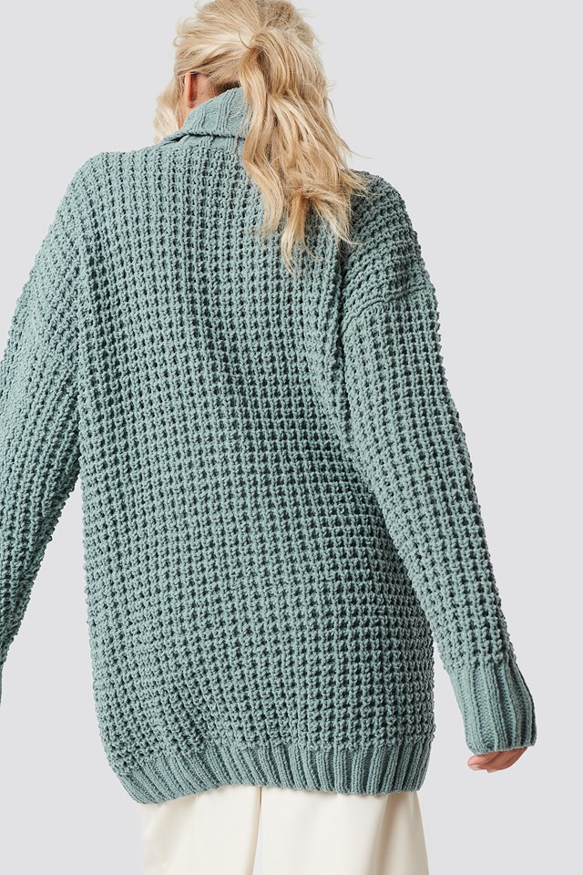 Populair Chunky Oversized Knitted Sweater Duck Green   na-kd.com #TL18