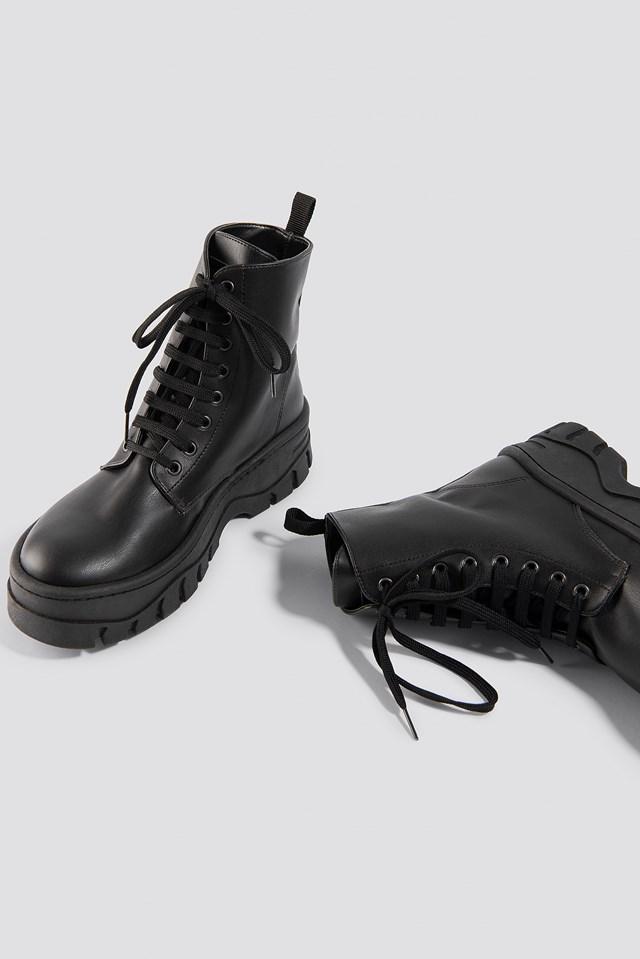 Chunky Profile Combat Boots Black