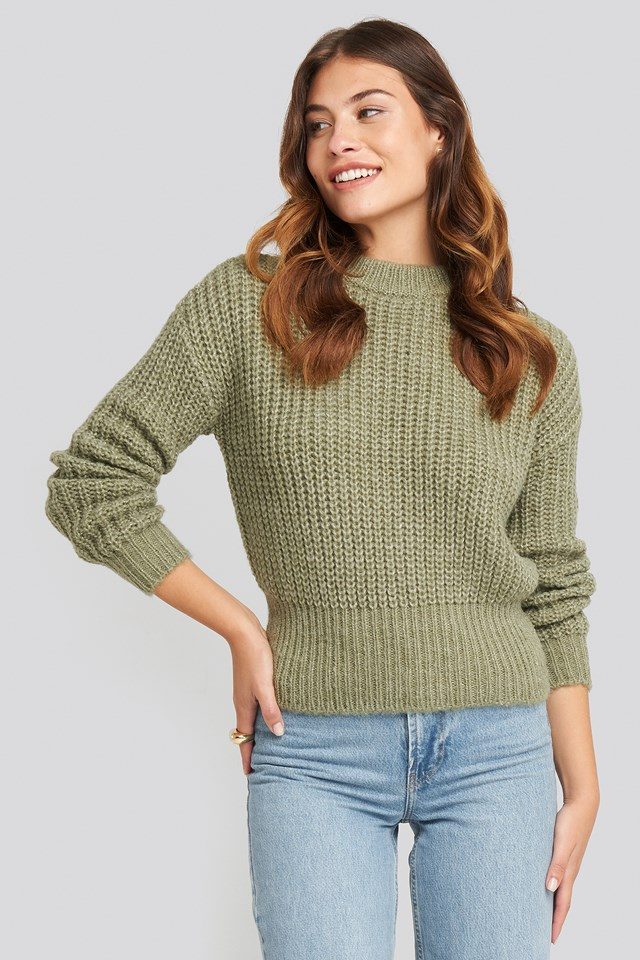 Chunky Ribbed Wool Blend Sweater Green
