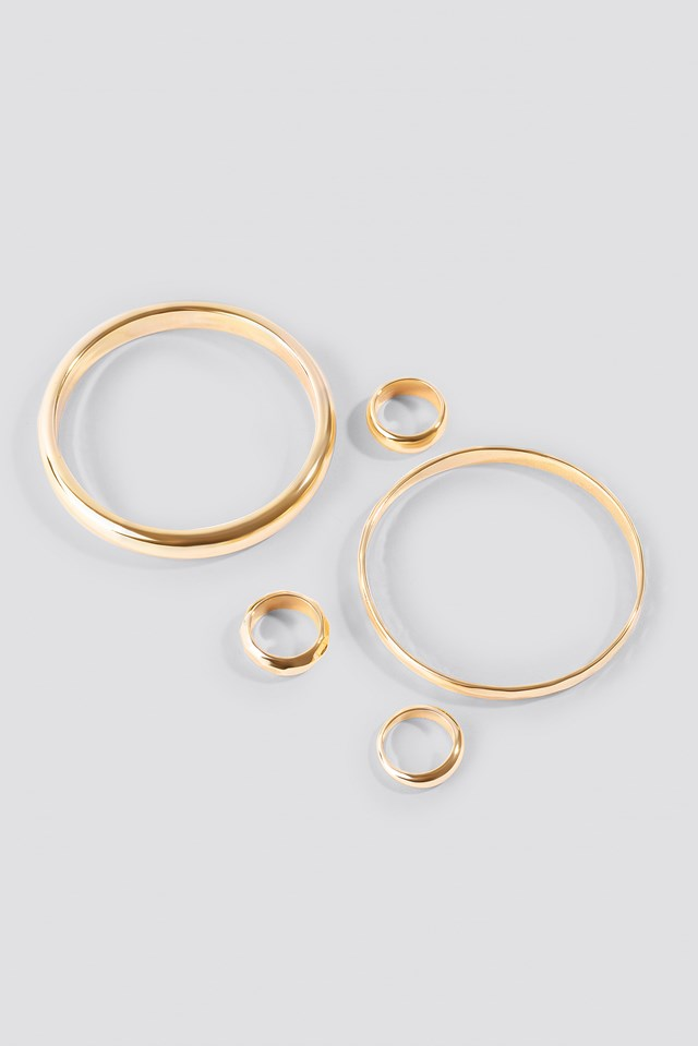 Chunky Rings and Bangles Set Gold