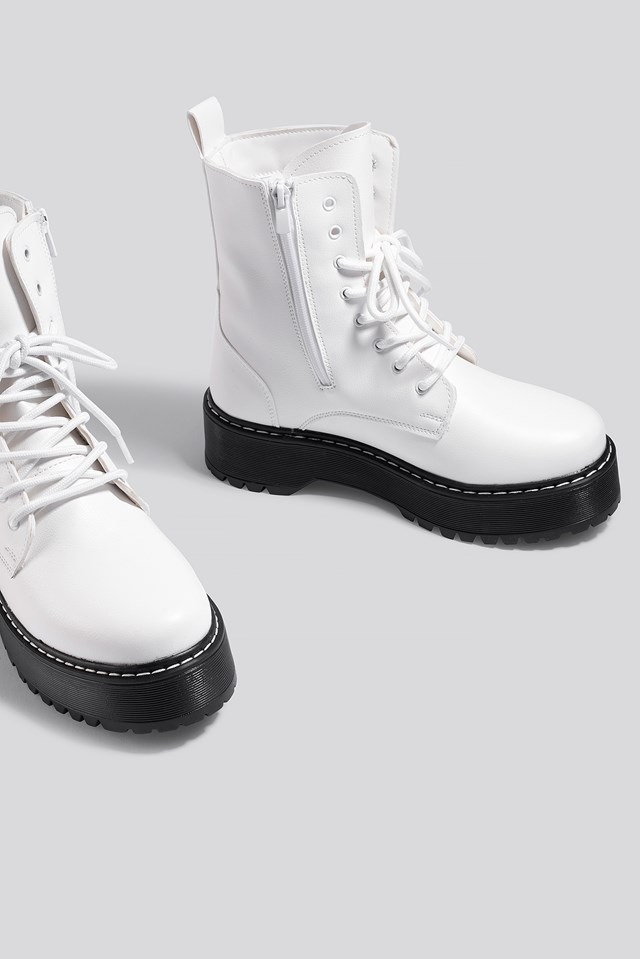 Chunky Rubber Sole Combat Boots White