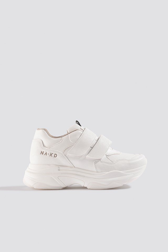 Chunky Sneakers Velcro White
