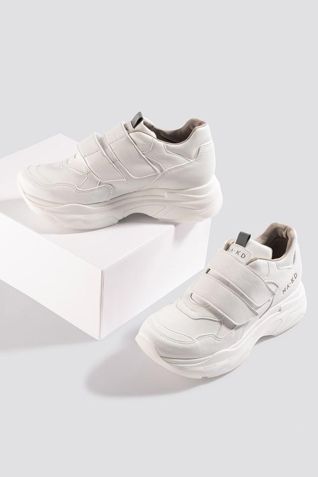 Chunky Sneakers Velcro White