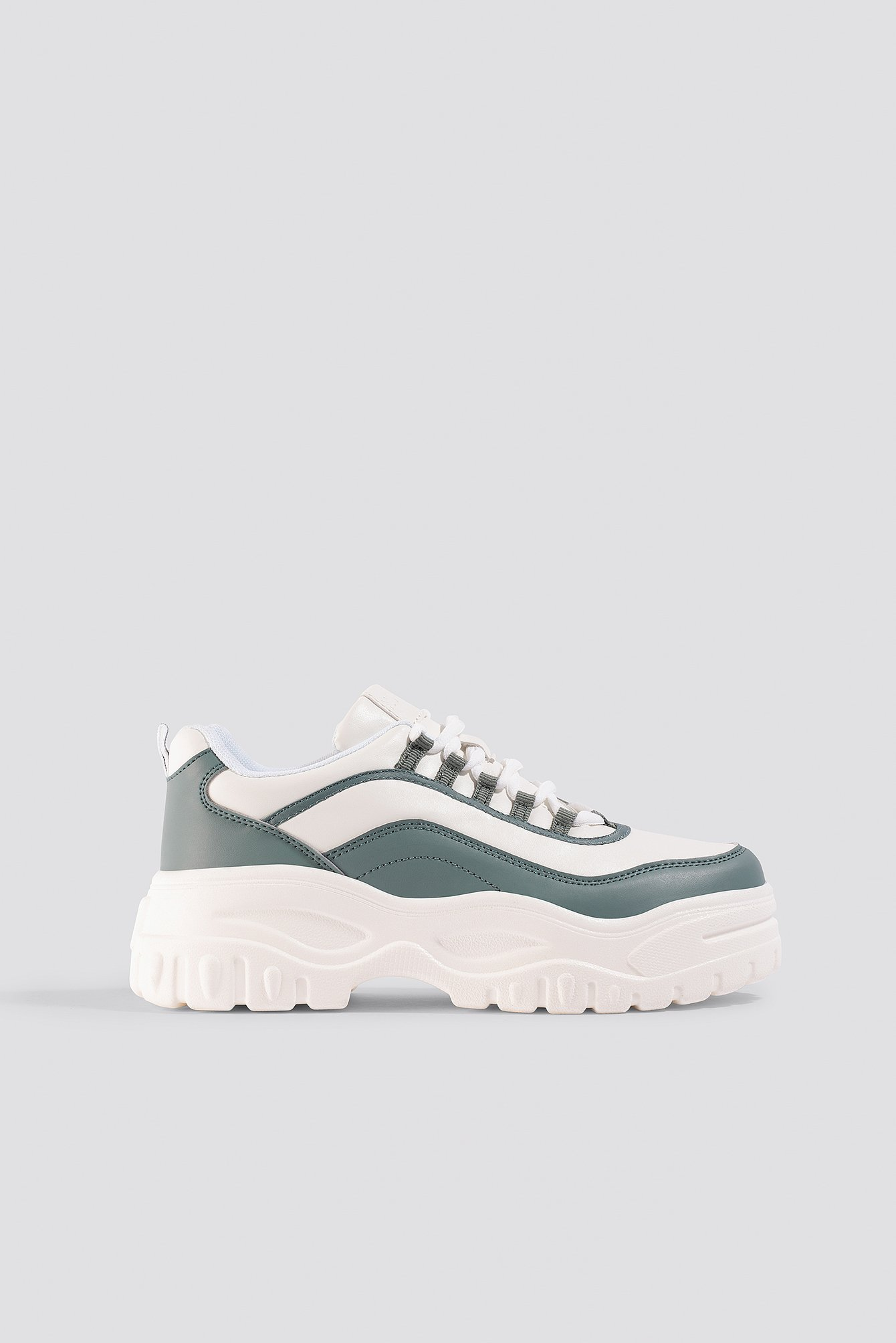 NA-KD Shoes Chunky Sole Sneakers - White,Green