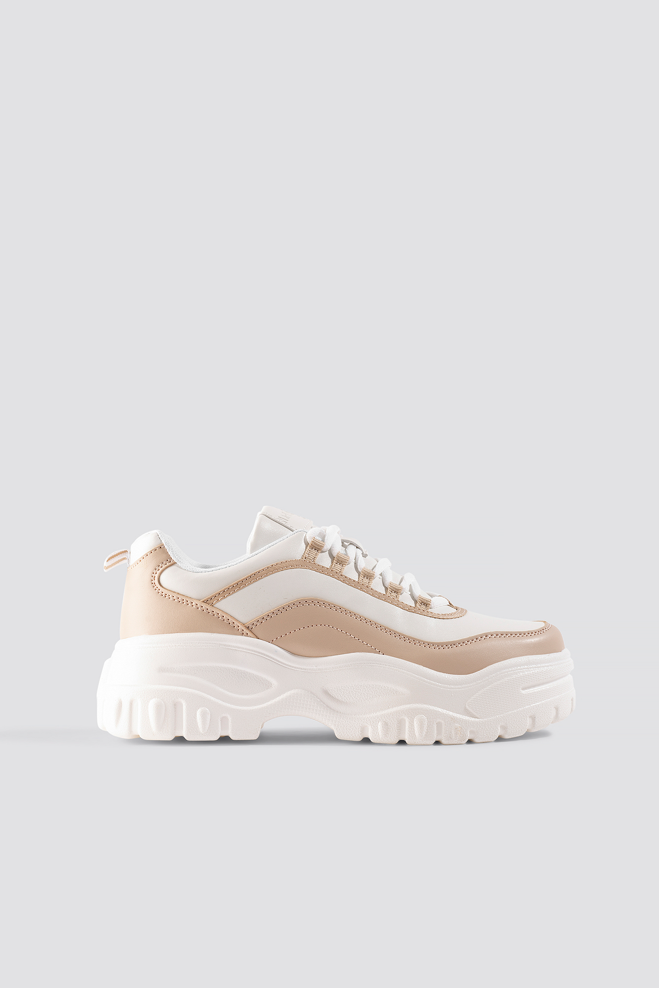 na-kd shoes -  Chunky Sole Sneakers - White,Beige