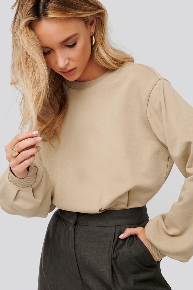 Cinched Waist Sweatshirt Bodysuit Beige