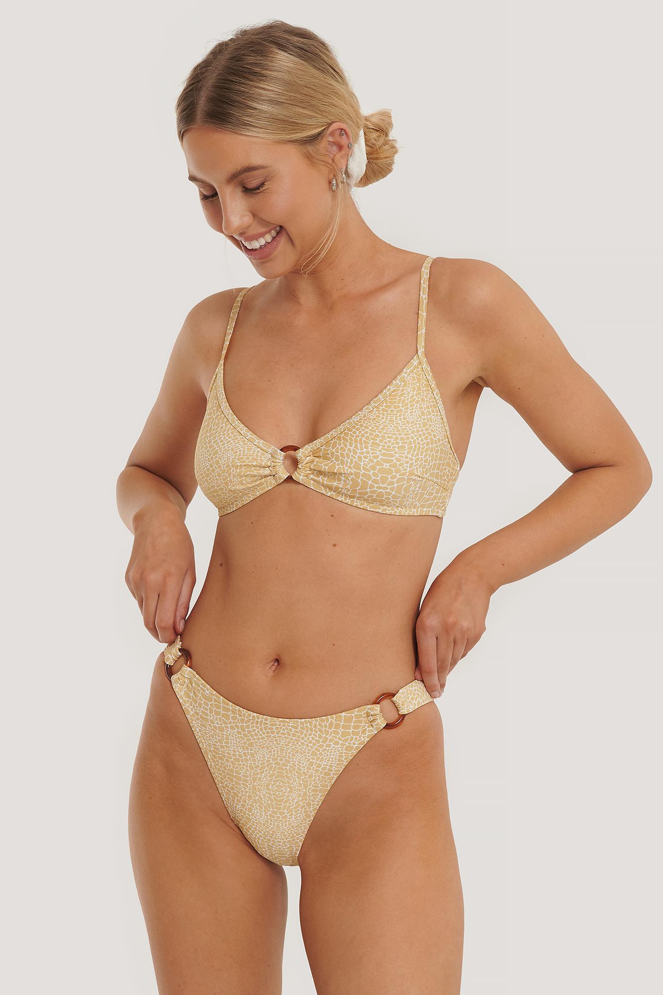 NA-KD Swimwear Hochgeschnittenes Bikini-Höschen Mit Ringdetail - Beige | Bekleidung > Bademode > Bikinis | NA-KD Swimwear
