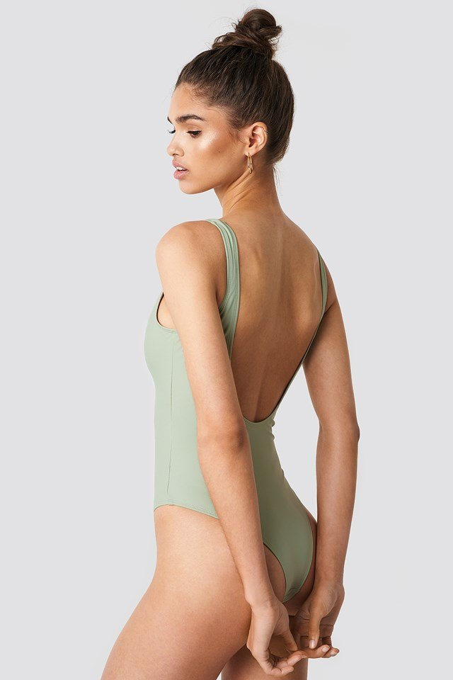 Circle Detail Swimsuit Dusty Green
