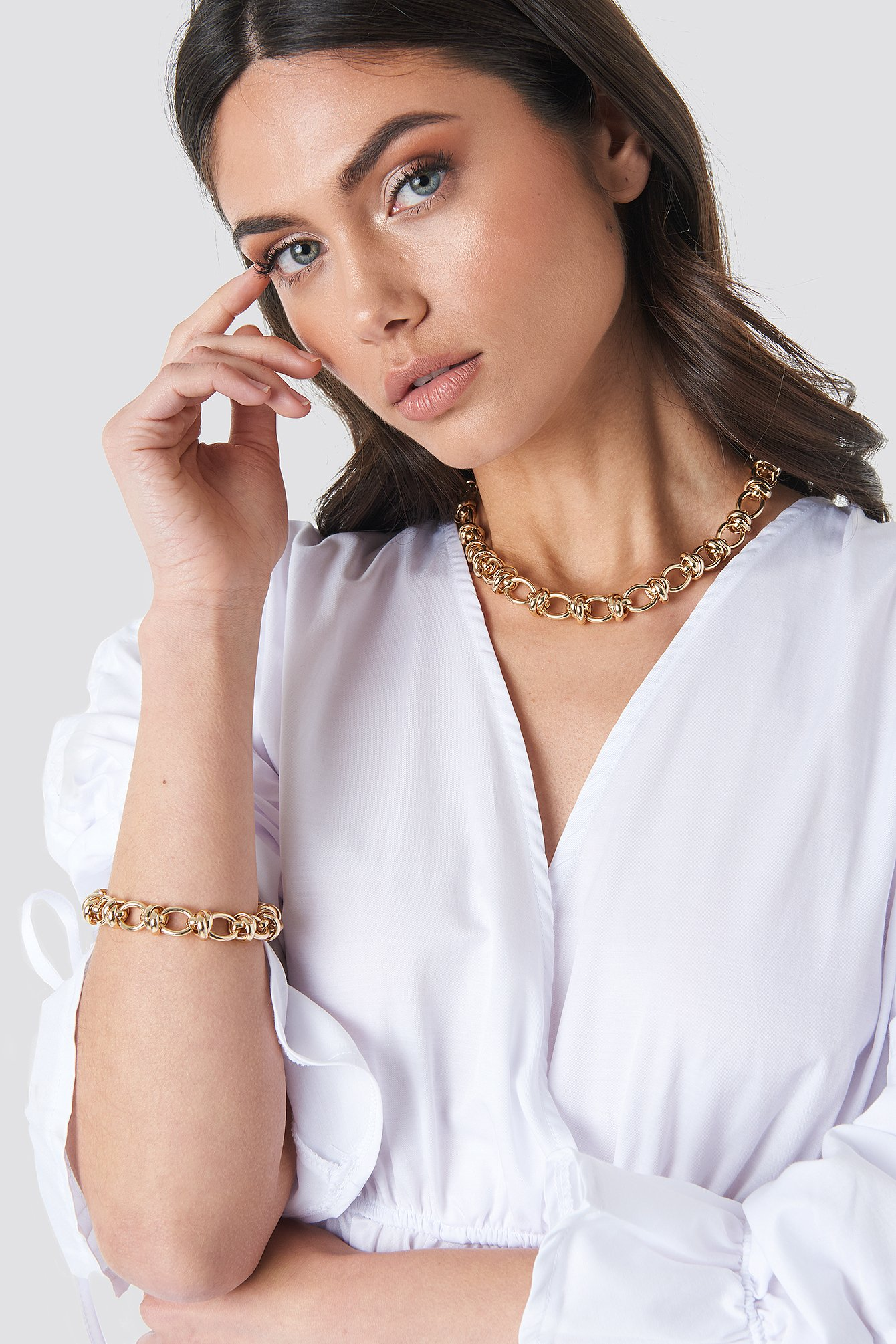na-kd accessories -  Circular Chain Necklace + Bracelet Set - Gold