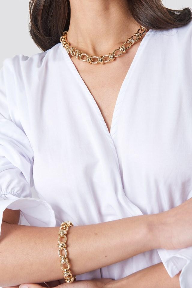 Circular Chain Necklace + Bracelet Set Gold