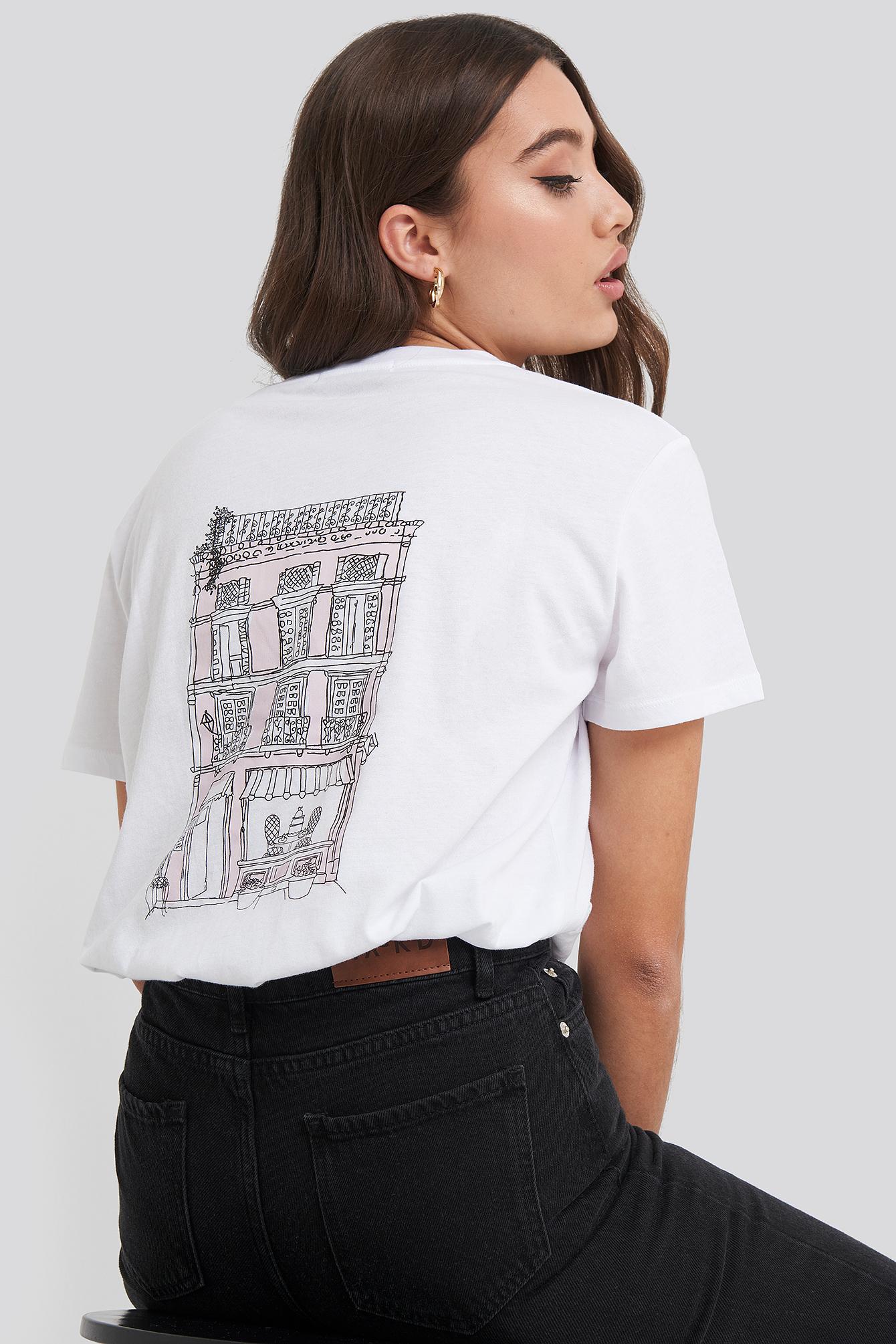na-kd -  City Print Oversized Tee - White
