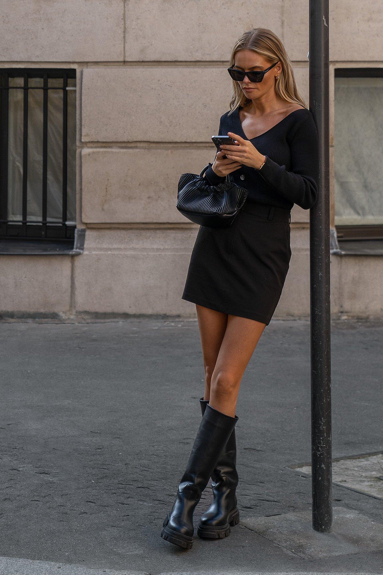 Claire Rose x NA-KD Miniskørt - Black
